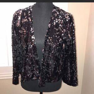 UEC Black and silver sequined cropped jacket